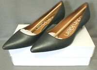 CALVIN KLEIN womens 1 1/2 in cone heel dress shoes size 8 M black leather NEW