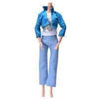 3 Pcs/set Fashion Handmade Blue Coat Light Blue Pant Silver Vest for s TB