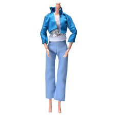 3 Pcs/set Fashion Handmade Blue Coat Light Blue Pant Silver Vest for Barbies DY