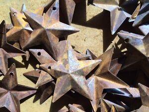 "DLCC~40 PCS 1.75/"" PRIMITIVE RUSTIC 3D Country STARS Rust tin Metal"