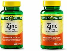 2 Pack of Spring Valley Zinc Caplets 50 mg 200 ct Total 400 Caplets Exp 09/2022