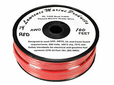 14 Gauge Tinned Marine Primary Wire / Red / 100 Foot Reel