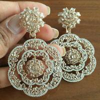 Solid 925 Sterling Silver Yellow Pear Flower Long Wedding Dangle Earrings New