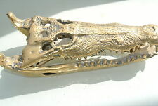 Amazing small Crocodile skull solid pure brass heavy decor hand made 23 cm B