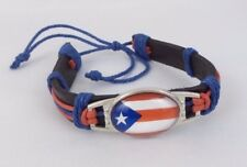 Puerto Rico PR Flag Bracelet Leather Pride Friendship Expandable Red Blue White