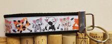 "Pink and black cat kitten kitty 4 1/2"" key fob ~ wristlet ~ key chain"