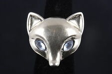 FOX RING W/ 2 CLEAR STONES  SIZE 6 1/2  8494