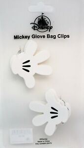 x2 Disney Parks Mickey Mouse Glove Gloves Chip Bag Clip Black White Set of 2 NEW