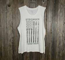 Zoe & Liv Women's Tee Cream Flag Stronger Together Knit Top New Size XXL 2X