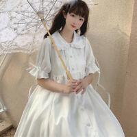 Japanese Lady Girls Sweet Lolita Dress Ruffle Princess Fairy Kawaii Cute White