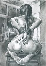 Print, Pencil, BDSM, Erotic Drawing by Gosha. A4