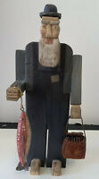 Primitive Americana Country Folk Art Carved Wooden Fisherman Figure Vintage Issu