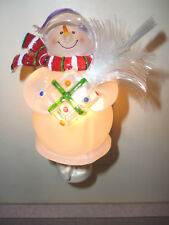 Snowman with Fiber Optic Tree Night Light Rotating Plug  NEW in Box
