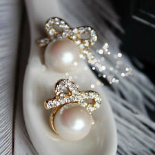1 Pair Women Elegant Bow Small Round Pearl Rhinestone Fashion Ear Stud Earrings