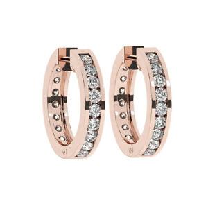 0.50CT Pave Set Round Brilliant Cut Diamonds Hoop Earrings in 9K Rose Gold