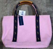 POLO RALPH LAUREN PINK NAVY PONY PURSE BEACH YACHT TOTE CANVAS LEATHER NEW! 3cc6a7a1ccc24