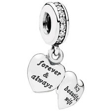 PANDORA Dangle Charm My Beautiful Wife heart 925 sterling silver  791524CZ