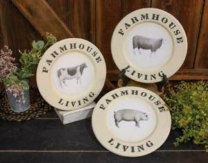 Farmhouse Living Cow Pig Sheep Countryside Barnyard Animals Display Plates