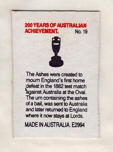 Australian Matchbox Label. Bicentenial. The Ashes Test of 1882