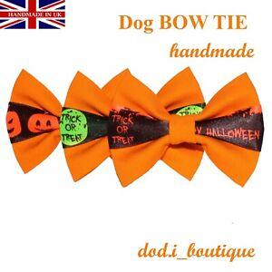 New Dog Bow Tie Bowtie HALLOWEEN Elastic Band attach Slide on COLLAR Handmade UK