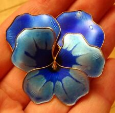 LARGE Norwegian Sterling Silver & Enamel Pansy Brooch - David Andersen Norway
