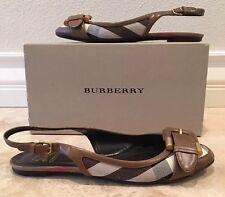 BURBERRY Nova Check Canvas Leather Sling Back Ballet Flats 38.5 8.5 M Italy NICE