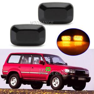 2x LED Smoked Side Marker Light Lamp Indicator For Land Cruiser 70 80 100 Series