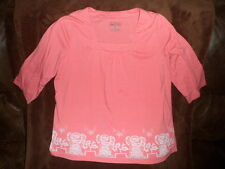 CRYSTAL KOBE wmns sz L 3/4 Sleeve soft Cotton blend Salmon Blouse Shirt Top