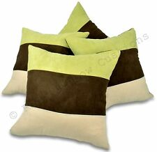 """Set of 4 Lime Green Brown & Cream 18""""  Faux Suede Cushion Covers BNIP Stripe"""