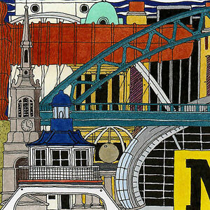 Limited Edition Art Print Canvas 'NEWCASTLE&GATESHEAD' Artist signed/numbered