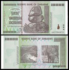 Zimbabwe 50 Trillion ZIM Dollars AA 2008 Series P90 UNC UV Inspected with COA