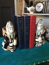 Unusual Ceramic Ethnic Figure P,anter Style Bookends