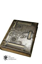 Antique Victorian Green Leather Photo Album Book Brass Art Nouveau 76 Photos