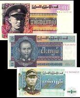 Myanmar / Burma 1972-73  > 1 , 5, 10 Kyats, Banknote set of 3 UNC
