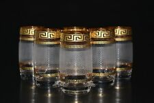 6 Wassergläser, Dekor Karo Bohemia, Bohemia Kristallglas, Handbemalt in Gold