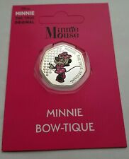 Disney Minnie Mouse - Minnie Bow-Tique 50p Silver Plated Colour Medal Coin