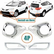 Accessories Chrome Front + Rear Fog Light Covers For Toyota RAV4 2013 2014 2015