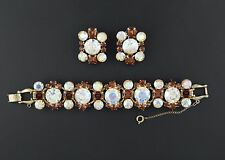 Juliana D&E Topaz & AB Rhinestone Bracelet Earrings - Headlight Rhinestones!