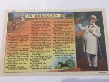 Kentucky Poem Gentleman Owl Horse c1940s Linen Curteich KE-3 Postcard Unused!