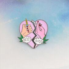 2 Pcs/Set BEST BUDS Broken Heart Enamel Brooches Pin Badges Fashion Jewelry