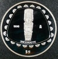 1998 Mexico Sacerdote 5 Pesos 1 Oz .999 Silver Pre Colombian Toltec Priest Coin