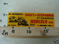 STICKER,DECAL HENGELO GLD INT.MOTORRACES SOLO'S + ZIJSPANNEN 2E PAASDAG KROON-OI