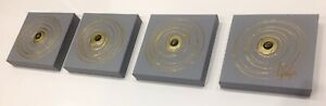 UK ARTIST Wall Art Set 4 Canvases Paintings Abstract Modern Decor Gold Grey
