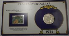 1934 Peace Silver Dollar Coin In Stamped Holder with Info Securities & Exchange