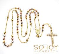 4mm 12 gram 10k Yellow Rose Gold Diamond Cut Bead Rosary Chain Necklace Mens