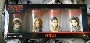 STRANGER THINGS 4 Piece Glass Set 16oz Cups Loungefly Netflix Steve, Will, Max,