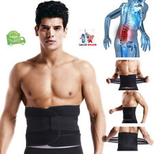 US Adjustable Double Pull Lumbar Brace Back Support Lower Black Waist Belt Black