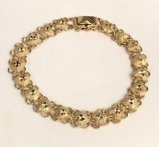 18k Solid Yellow Gold Cute Heart Diamond Cut Bracelet, 7 Inches, 9.41 grams