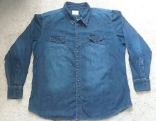 PD & C Women's Blue Long Sleeve Denim Jeans T Shirt Blouses Cotton XXL Button Up