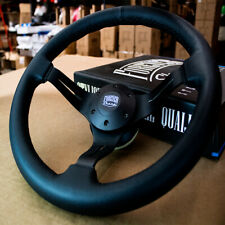 """14"""" Leather Steering Wheel with Black Aluminum 3 Spokes - 6 Hole Chevy, Gmc"""